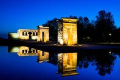 Temple de Debod à l'heure bleue, Madrid Photographie stock libre de droits