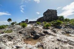 Temple de Dieu de vent dans le Tulum au Mexique Photographie stock