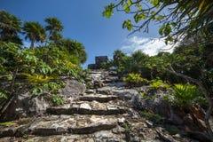 Temple de Dieu de vent dans le Tulum au Mexique Image stock