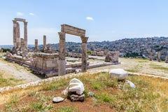 Temple de Hercule, à la citadelle d'Amman, Amman, Jordanie Photo libre de droits