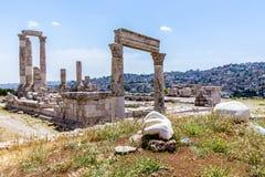 Temple de Hercule, à la citadelle d'Amman, Amman, Jordanie Image stock