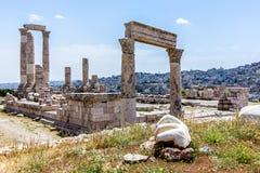 Temple de Hercule, à la citadelle d'Amman, Amman, Jordanie Images libres de droits