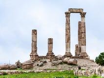 Temple de Hercule à la citadelle d'Amman en hiver Photo stock
