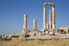 Temple de Hercule, citadelle d'Amman, Jordanie Image stock