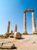 Temple de Hercule dans la citadelle d'Amman Images stock