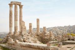 Temple de Hercule sur la citadelle d'Amman Images libres de droits