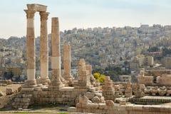 Temple de hercule sur la citadelle d'Amman, Jordanie Photographie stock libre de droits