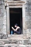 Temple de Khmer de Prasat Bayon chez Angkor dans Siem Reap Cambodge image libre de droits