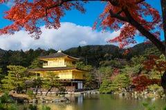 Temple de Kinkakuji (le pavillon d'or) avec l'érable d'automne dans Kyot Photos libres de droits