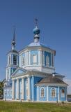 Temple de la mère de Dieu de Jérusalem dans la ville blanche de la région de Tver Photographie stock libre de droits