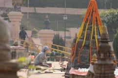 Temple de Mahabodhi dans Bodhgaya, Bihar, Inde Image libre de droits