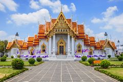Temple de marbre à Bangkok Thaïlande photo stock