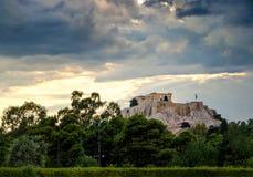 Temple de parthenon sur la colline d'Acropole à Athènes, Grèce Image stock
