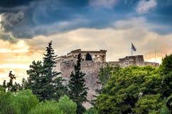 Temple de parthenon sur la colline d'Acropole à Athènes, Grèce Image libre de droits