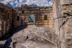 Temple de picchu de Machu du soleil à l'intérieur Photographie stock libre de droits