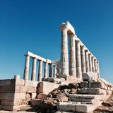 Temple de Poseidon dans le cap Sounion image stock