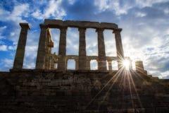 temple de Poseidon et de soleil Images libres de droits
