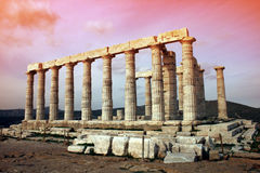 Temple de Poseidon Sounio Photographie stock libre de droits