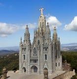 temple de Sagrat Cor, Tibidabo。巴塞罗那地标,西班牙。 免版税库存图片
