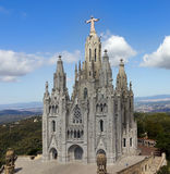 Temple de Sagrat Cor, Tibidabo. Barcelona landmark, Spain. Temple de Sagrat Cor and Torre de les Aigues, Tibidabo, Barcelona Royalty Free Stock Image