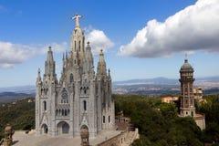 Temple de Sagrat Cor, Tibidabo, Barcelone Images libres de droits