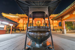 Temple de Sensoji la nuit Images libres de droits
