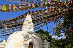 Temple de singe avec les drapeaux bouddhistes tibétains de prière Images stock