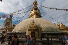 Temple de singe, Katmandou, Népal Images libres de droits