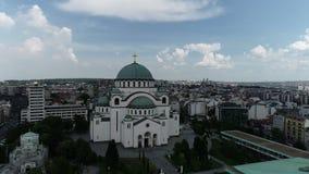 Temple de St Sava, Belgrade, vue aérienne banque de vidéos