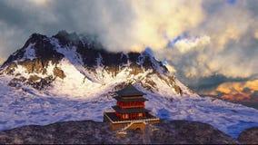 Temple de Sun - tombeau bouddhiste dans le rendu de l'Himalaya 3d Image stock
