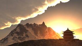 Temple de Sun - tombeau bouddhiste dans le rendu de l'Himalaya 3d Images libres de droits