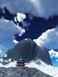Temple de Sun - tombeau bouddhiste dans le rendu de l'Himalaya 3d Image libre de droits