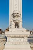 Temple de Wanshou à Tchang-tchoun, lions en pierre Photos libres de droits