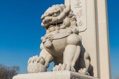 Temple de Wanshou à Tchang-tchoun, lions en pierre Images libres de droits
