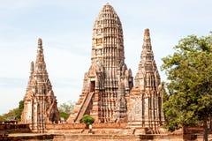 Temple de Wat Chaiwatthanaram Buddhist dans la ville d'Ayutthaya le sien Photographie stock