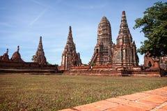 Temple de Wat Chaiwatthanaram Buddhist dans la ville d'Ayutthaya le sien Photos libres de droits
