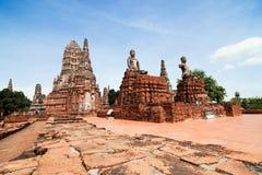 Temple de Wat Chaiwatthanaram Buddhist dans la ville d'Ayutthaya le sien Image libre de droits