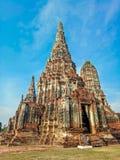 Temple de Wat Chaiwatthanaram en parc historique d'Ayuthaya, un site de patrimoine mondial de l'UNESCO en Thaïlande photographie stock libre de droits