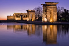 Temple of Debod. Ancient egyptian temple at dusk with a water reflection Stock Image