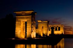 Temple of Debod. The Temple of Debod is an ancient Egyptian temple which was rebuilt in Madrid, Spain Stock Photo
