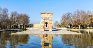 Temple of Debod Egyptian antic architecture in Madrid, Spain Stock Photography