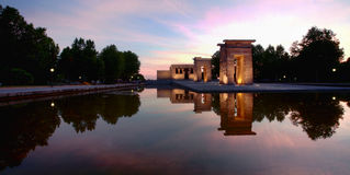Temple of Debod in Madrid. Egyptian temple rebuild in spain, as the temple de debod. Picture taken at the beginning of the night stock images
