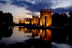 Temple of Debod in Madrid at n. Horizontal image of the Temple of Debod in Madrid. It´s a diagonal perspective of the platform of the Temple on the water, where Royalty Free Stock Images
