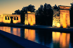 Temple of Debod at night, Madrid (Spain) Stock Images