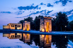 Temple of Debod, Parque del Oeste,Madrid, Spain. The Temple of Debod (Spanish: Templo de Debod) is an ancient Egyptian temple which was dismantled and rebuilt in Stock Photography