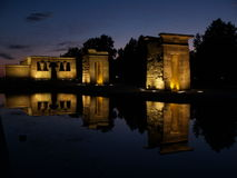 Temple of Debod in Spain. A night view of the Egyptian Temple of Debot found in Madrid, Spain Stock Photo