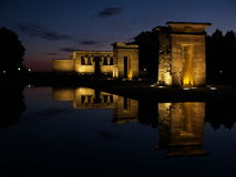 Temple of Debod in Spain. A night view of the Egyptian Temple of Debot in Madrid, Spain Royalty Free Stock Image