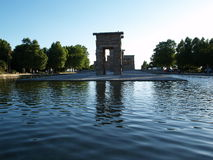 Temple of Debot in Spain. A view across a pool of water at the Egyptian Temple of Debot in Madrid, Spain Stock Photography
