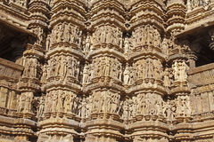 Temple Decorations. Exterior carvings on the Hindu temples at Khajuraho in India Stock Photos
