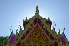 Temple decorations. Common architectural style of Buddhist temples Buddhism exhibit a different architectural and decorative approach.Buddhist monks decorate all Stock Photo
